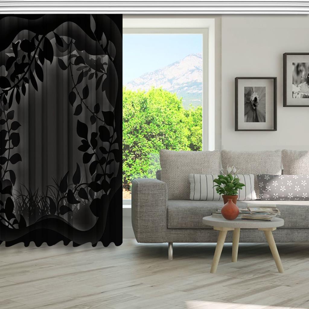 baskılı fon perde siyah arka plan etkili yaprak desenli