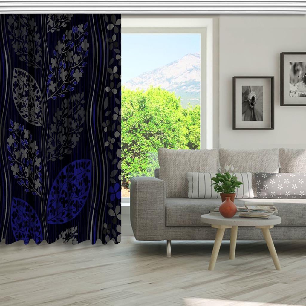 baskılı fon perde siyah arka plan etkili yaprak ve çiçek desenli