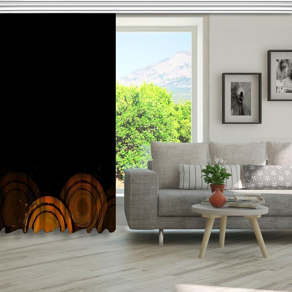 baskılı fon perde siyah arka plan etkili yuvarlak desenli
