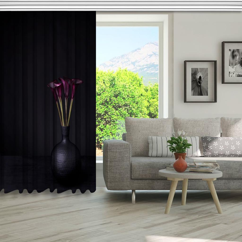 baskılı fon perde siyah arka plan vazo çiçek desenli
