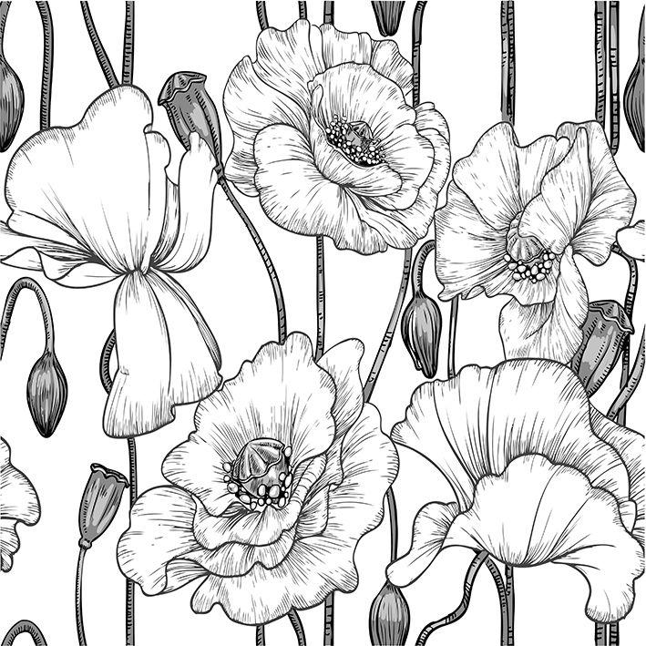 baskılı fon perde siyah beya haşhaş çiçek desenli