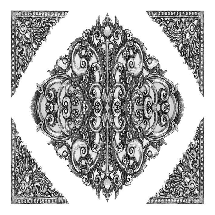baskılı fon perde siyah beyaz antika oyulmuş desenli