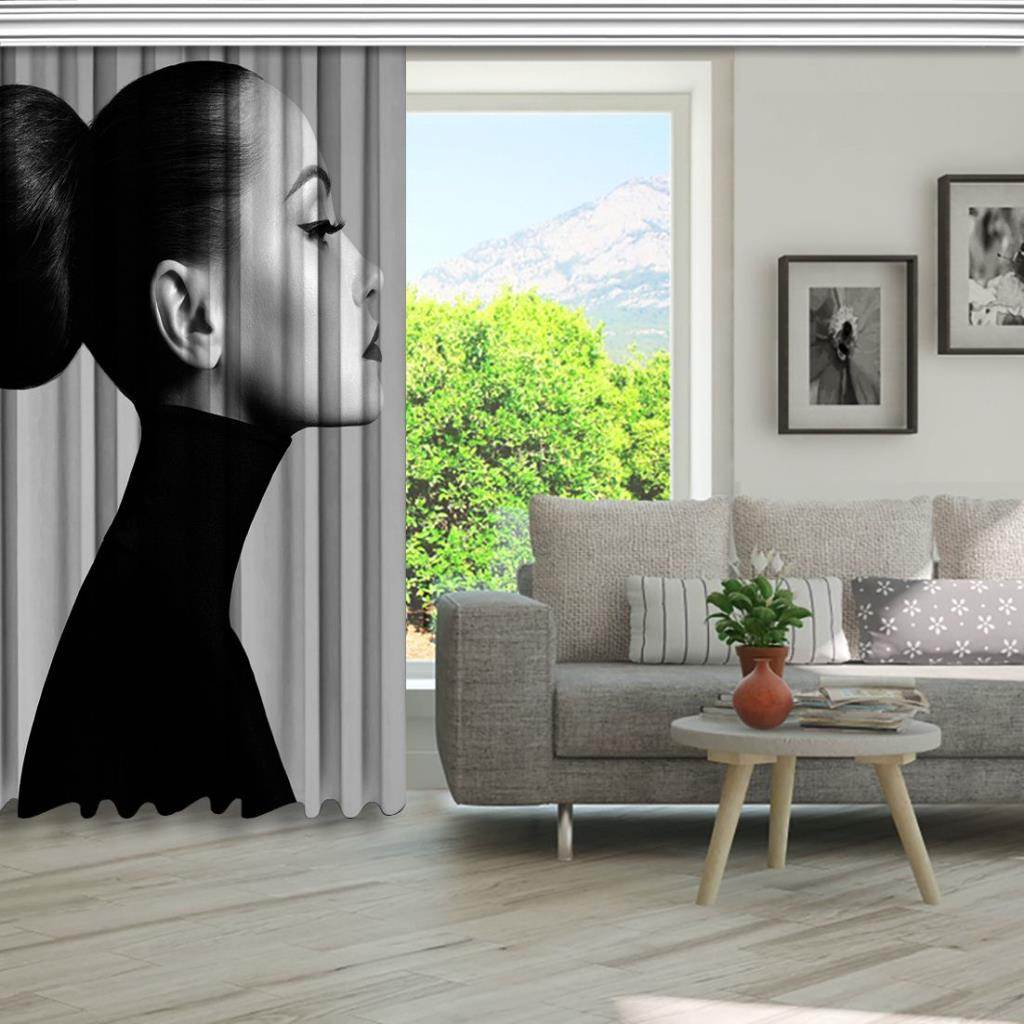 baskılı fon perde siyah beyaz topuzlu kadın portre desenli