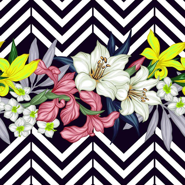 baskılı fon perde siyah beyaz zigzak çizgli tropik çiçekler desenli