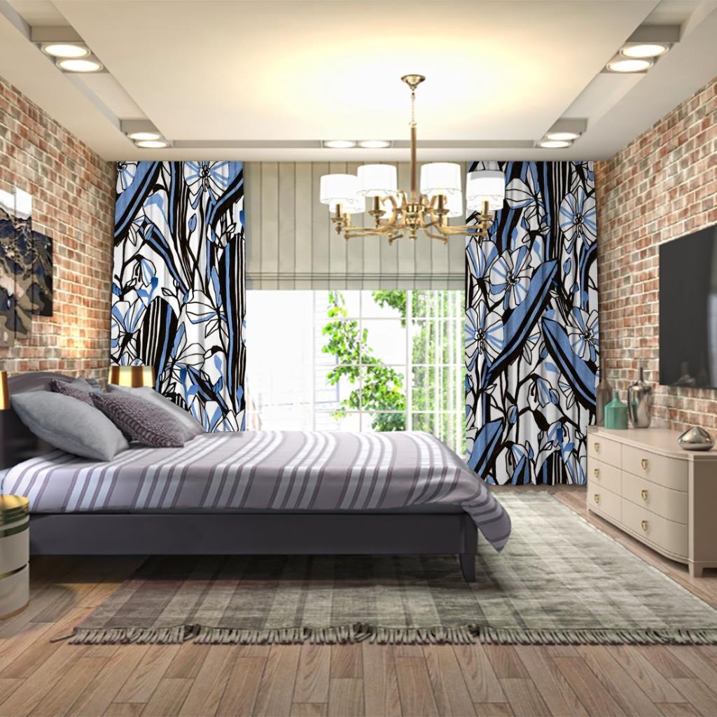 baskılı fon perde siyah mavi çizgilerden oluşan çiçekli desenli