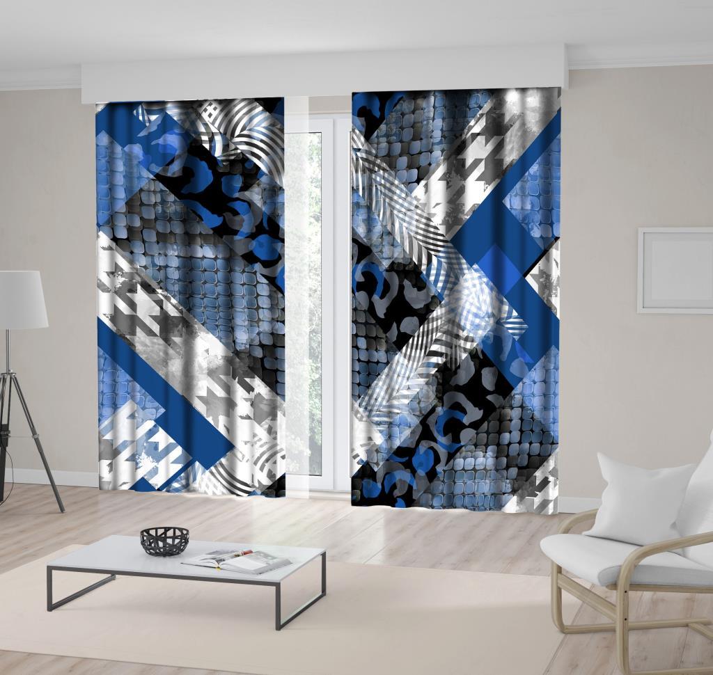 baskılı fon perde siyah mavi yılan leopar geometrik desenli