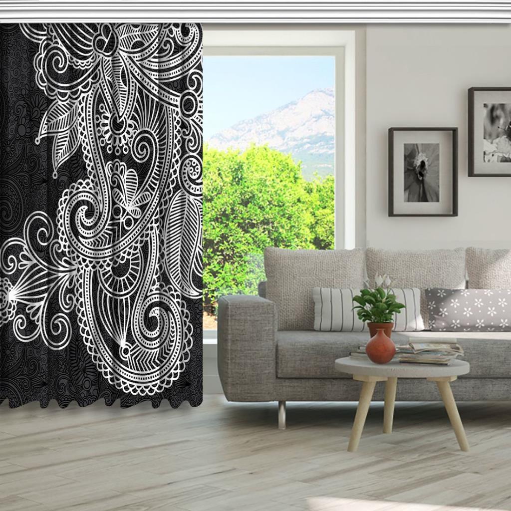 baskılı fon perde siyah ve beyaz çiçek desenli