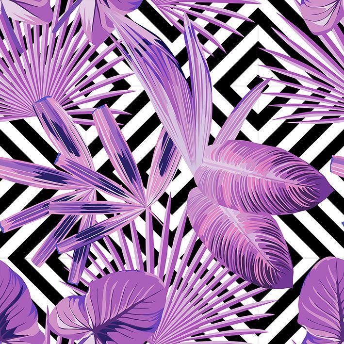 baskılı fon perde siyah ve beyaz geometrik mor renk yaprak desenli