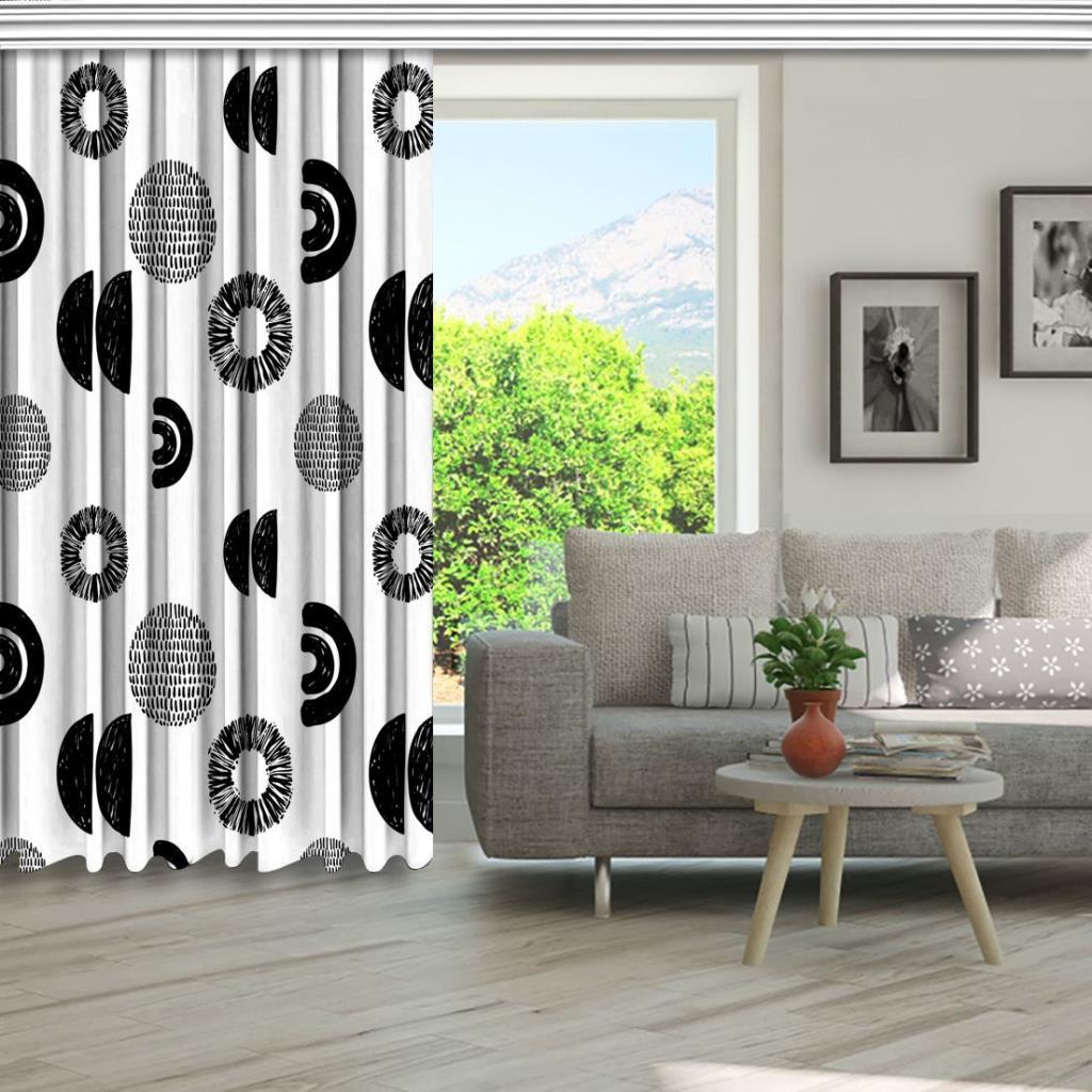 baskılı fon perde siyah ve beyaz yarım ay ve yuvarlak desenli