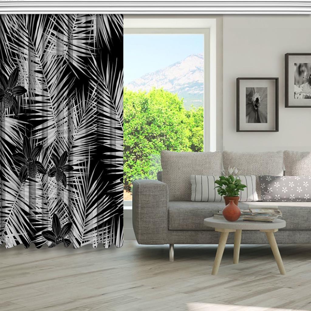 baskılı fon perde siyah ve gri uzun yapraklar desenli