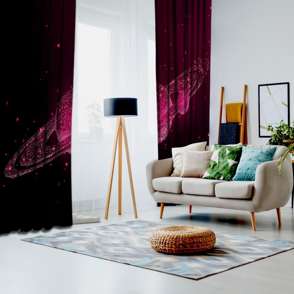 baskılı fon perde siyah ve pembe renk satürn desenli