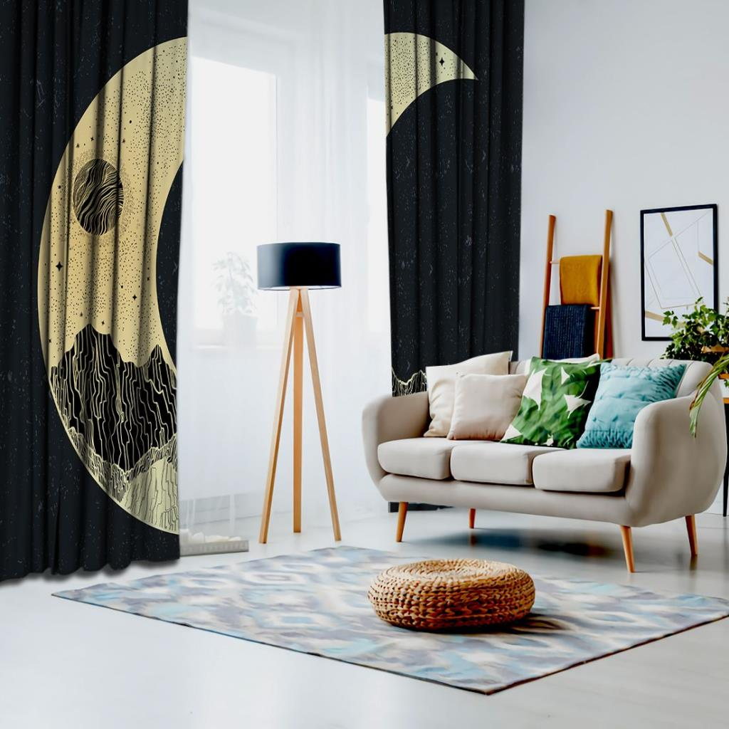 baskılı fon perde siyah ve sarı renk yarım ay desenli