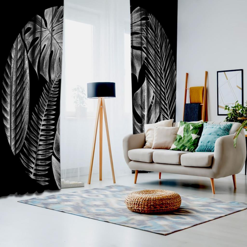 baskılı fon perde siyah zemin üzerine gri tropik yapraklar desenli