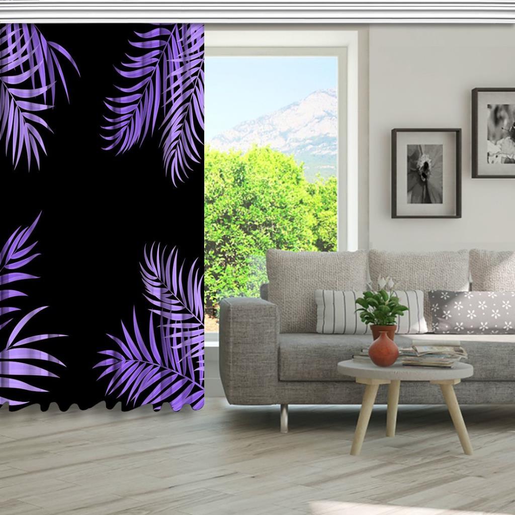 baskılı fon perde siyah zemin üzerine lila palmiye yaprak desenli