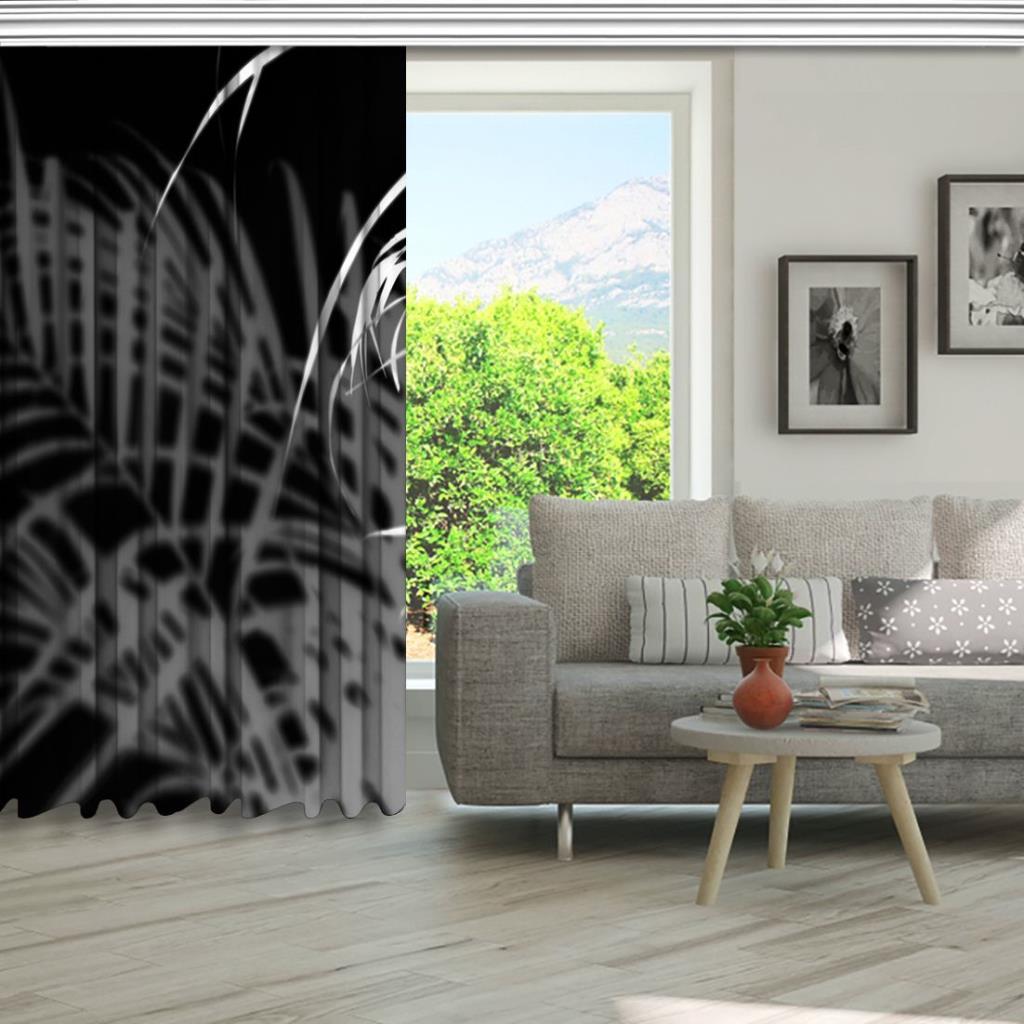 baskılı fon perde siyah zemin üzerine palmiye yapraklı desenli