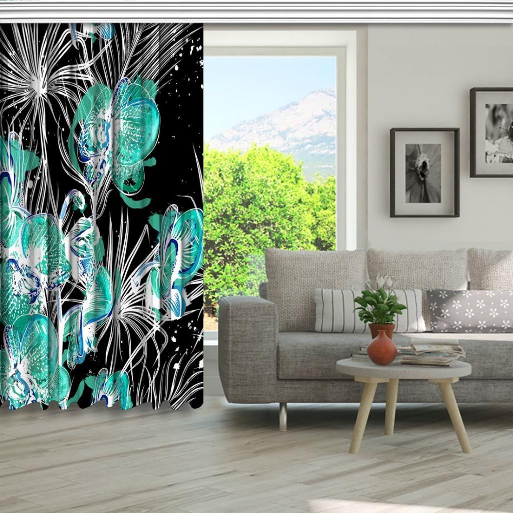 baskılı fon perde siyah zemin üzerine yapraklı orkide desenli