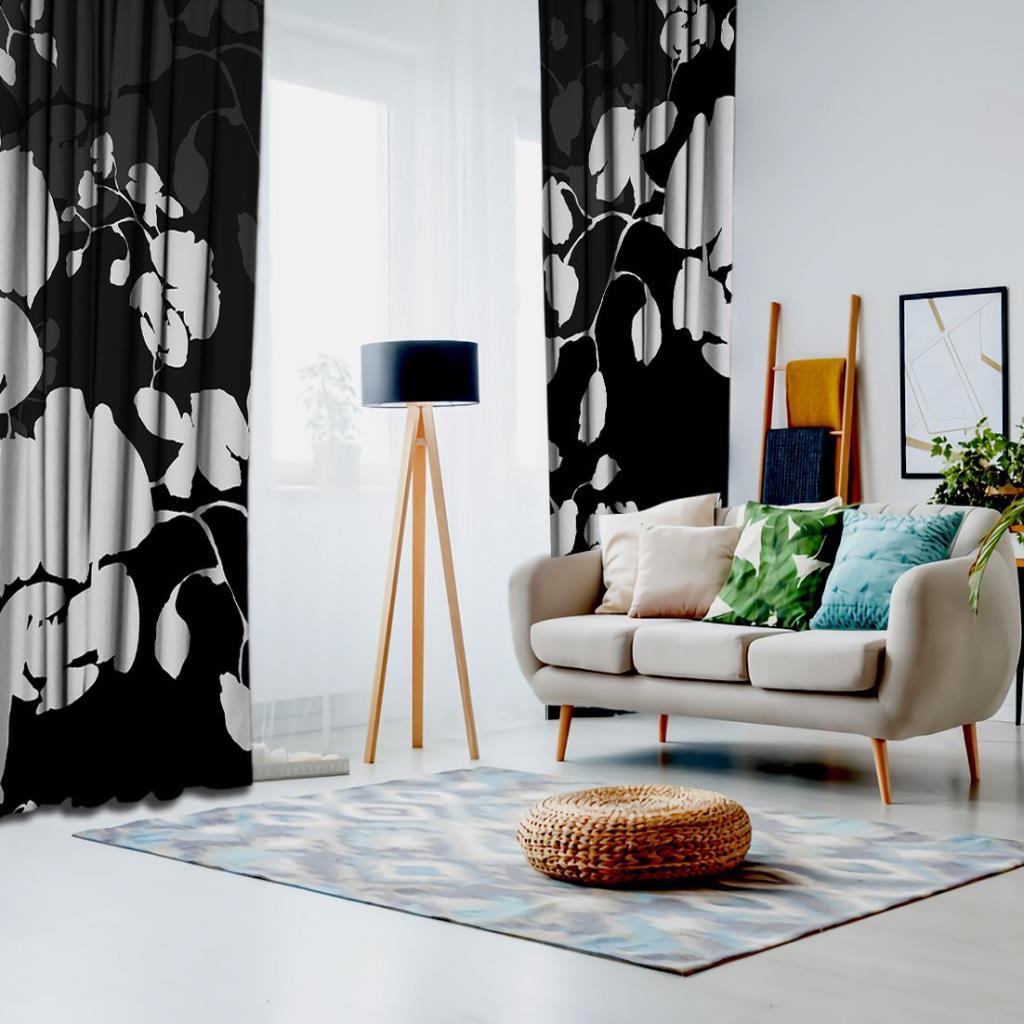 baskılı fon perde siyah zeminli kremli çiçekler desenli