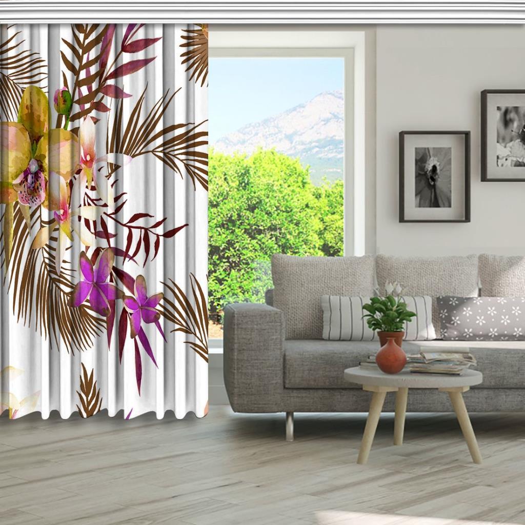 baskılı fon perde soft tropik yapraklar üzerine orkide çiçekli desenli