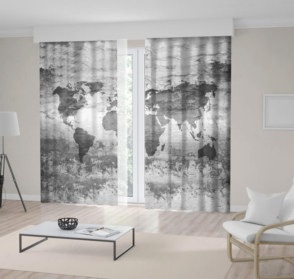 baskılı fon perde soluk siyah beyaz dünya harita desenli