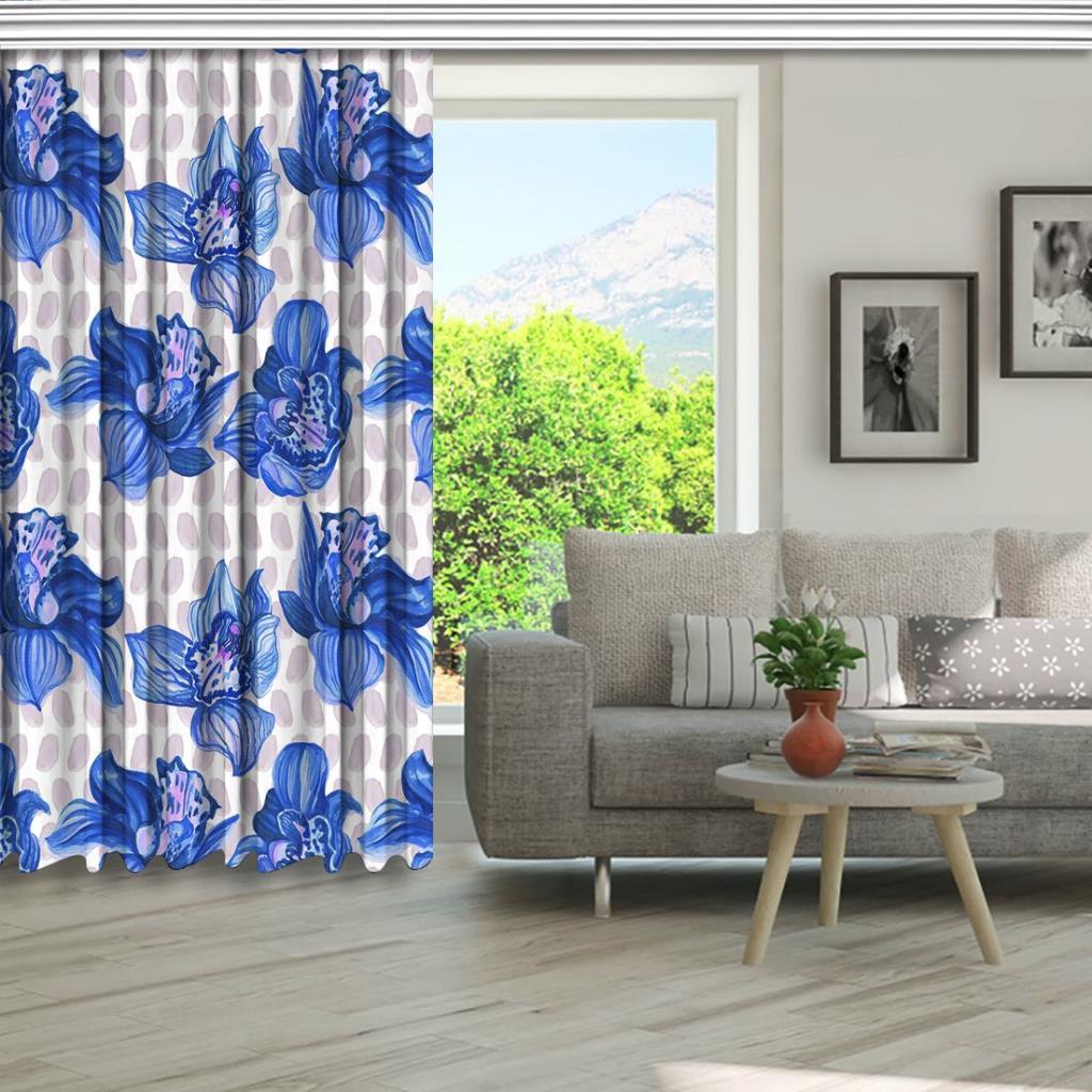 baskılı fon perde somon fırça puantiye üzerine mavi orkide desenli