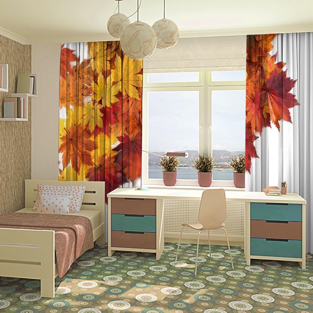 baskılı fon perde sonbahar akçaağaç yaprak desenli