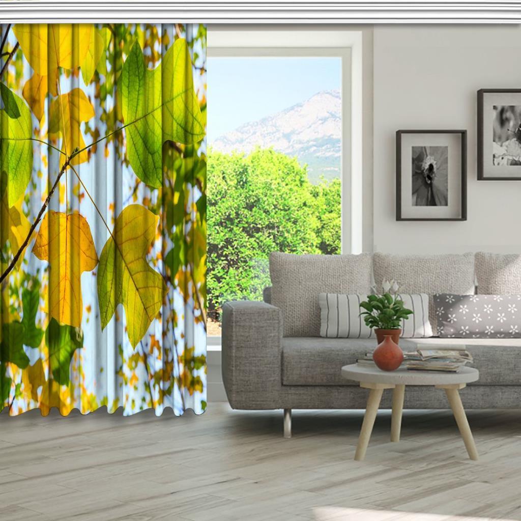 baskılı fon perde sonbahar manzaralı liriodendron ağaç desenli