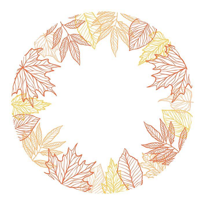 baskılı fon perde sonbahar yaprakları yuvarlak orman tasarım desenli