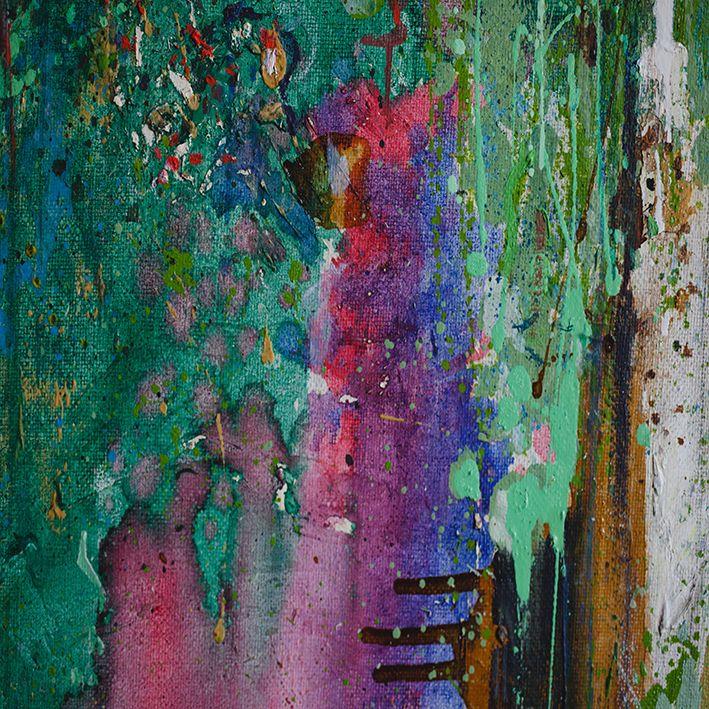 baskılı fon perde soyut akrılık el sanatı desenli yeşil