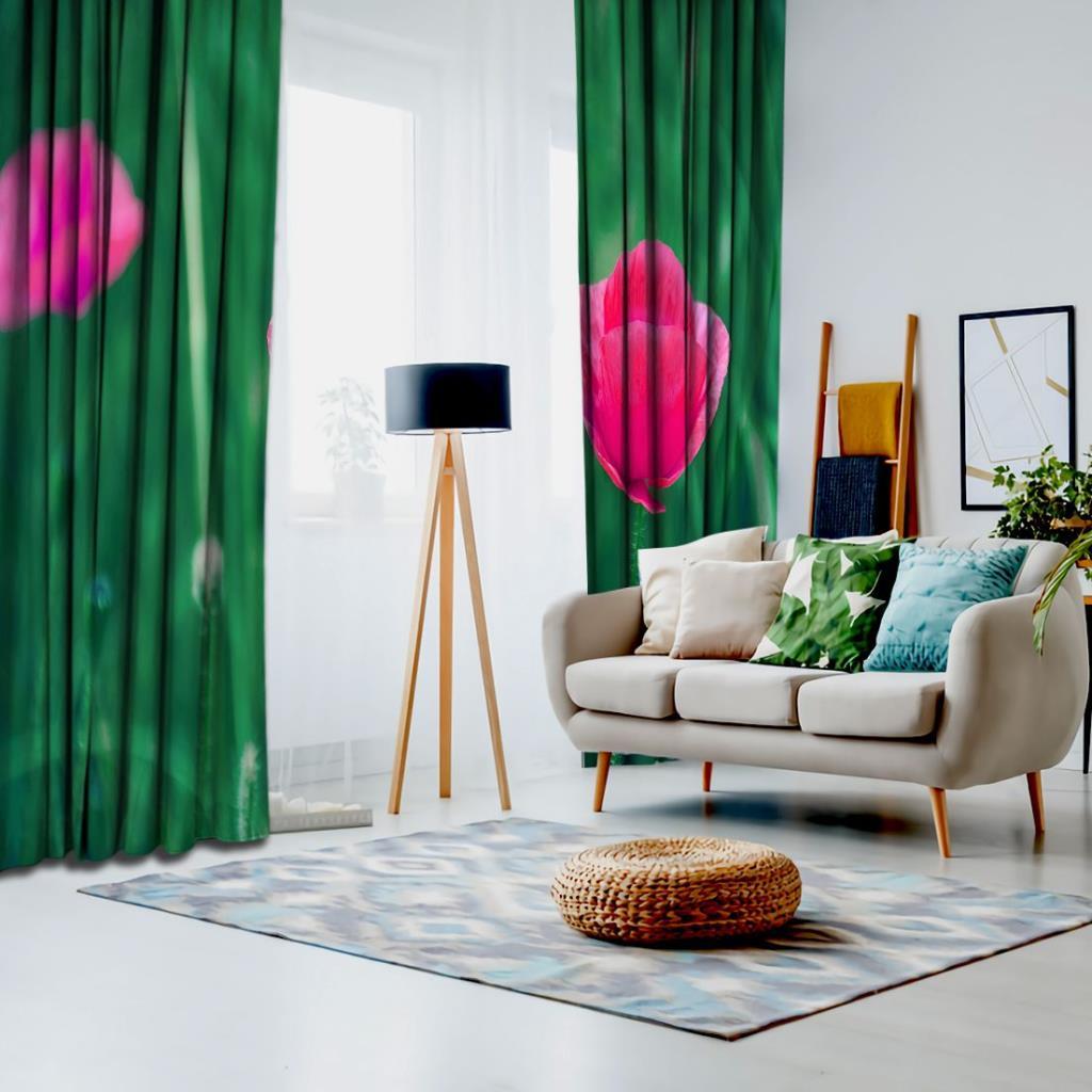 baskılı fon perde soyut arka plan etkili yeşil yaprak desenli