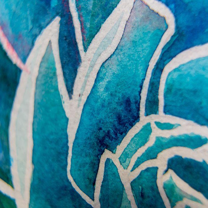 baskılı fon perde soyut çiçek yaprak desenli mavi
