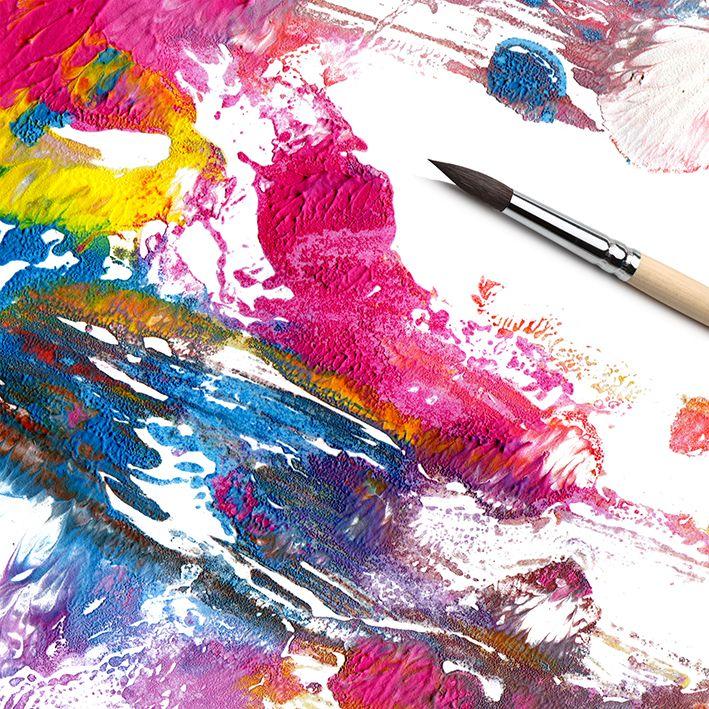 baskılı fon perde soyut fırça akrılık boya desenli pembe mavi