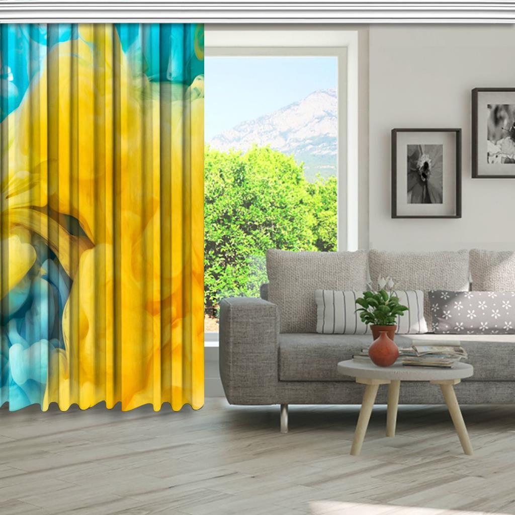 baskılı fon perde soyut mavi sarı boya sıçrama desenli