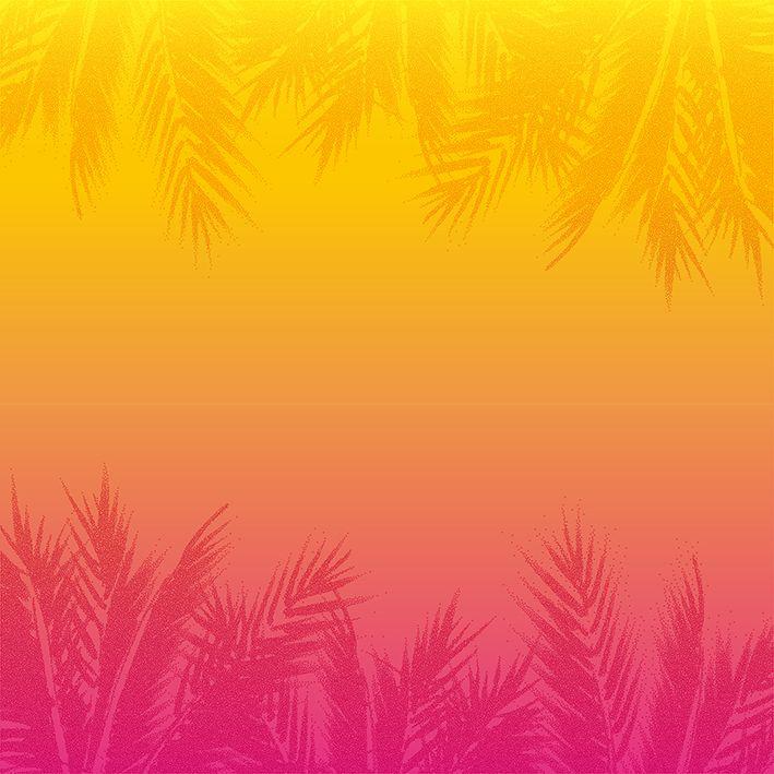 baskılı fon perde soyut tropikal gün batımı desenli sarı