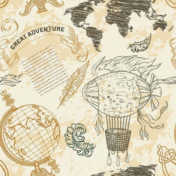 baskılı fon perde soyut vintage dünya harita desenli sarı