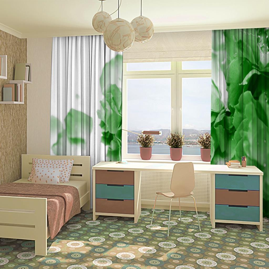 baskılı fon perde su damlası etkili yeşil gül desenli