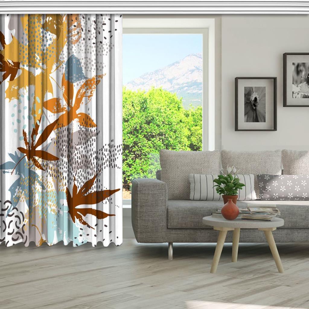 baskılı fon perde sulu boya etkili akçaağaç yaprak desenli