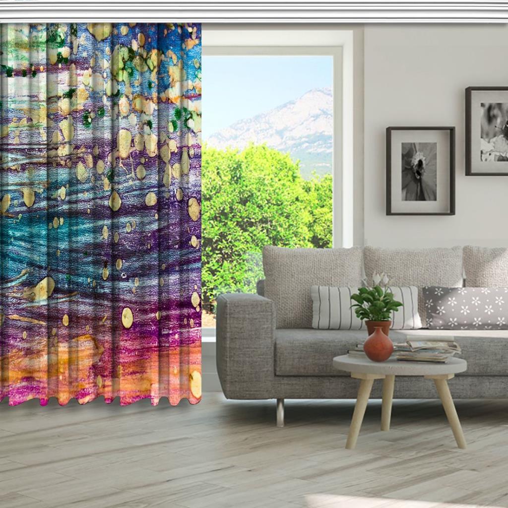 baskılı fon perde sulu boya etkili canlı renk desenli
