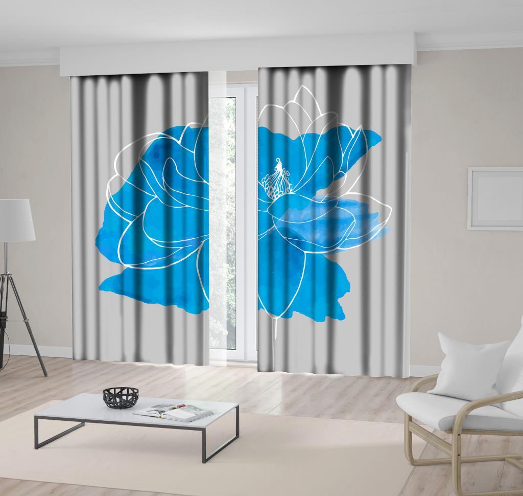 baskılı fon perde sulu boya etkili çizgi çiçek mavi desenli