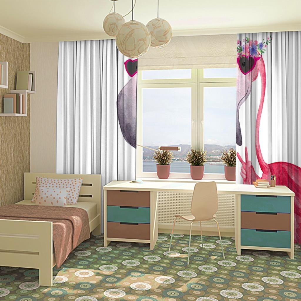 baskılı fon perde sulu boya etkili flamingo desenli pembe beyaz