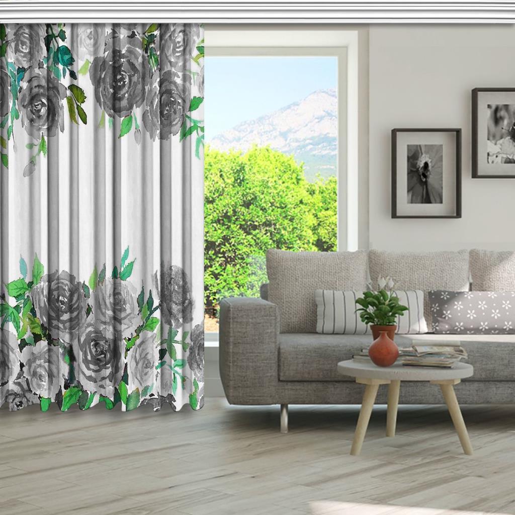 baskılı fon perde sulu boya etkili gri gül yaprak desenli