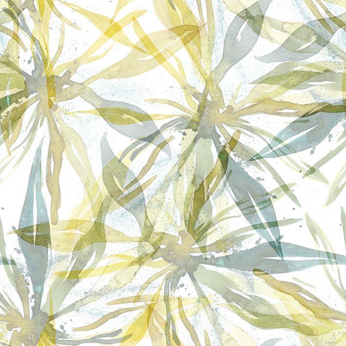 baskılı fon perde sulu boya etkili gri yeşil çiçek desenli