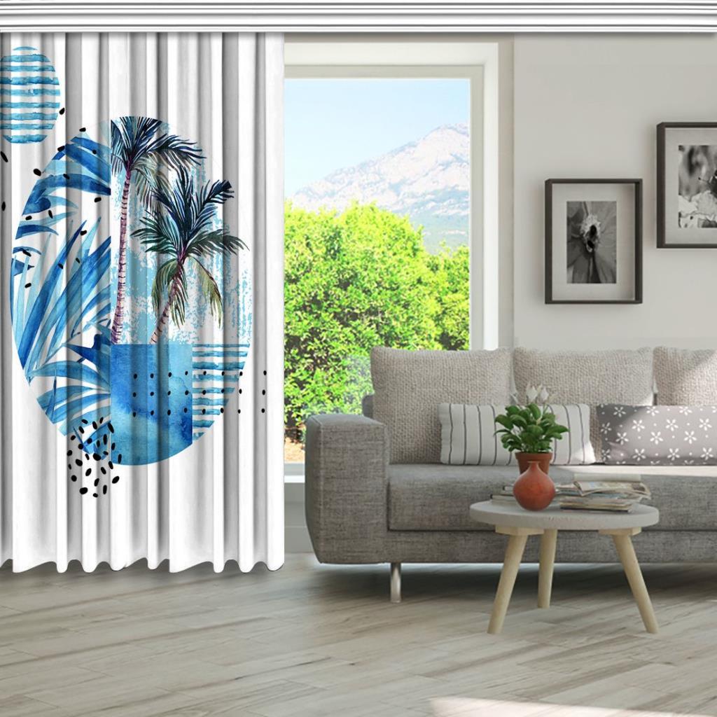 baskılı fon perde sulu boya etkili hurma ağaç desenli mavi