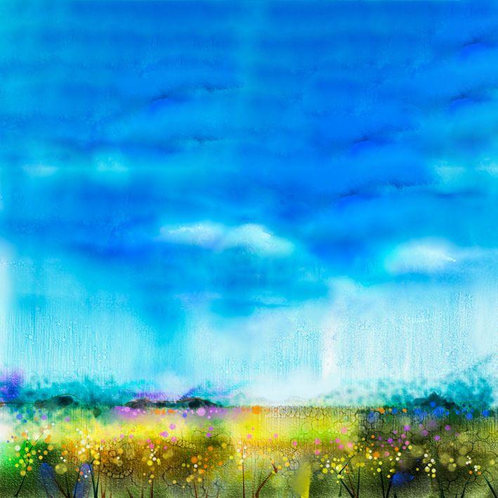 baskılı fon perde sulu boya etkili kır çiçeği mavi gökyüzü desenli