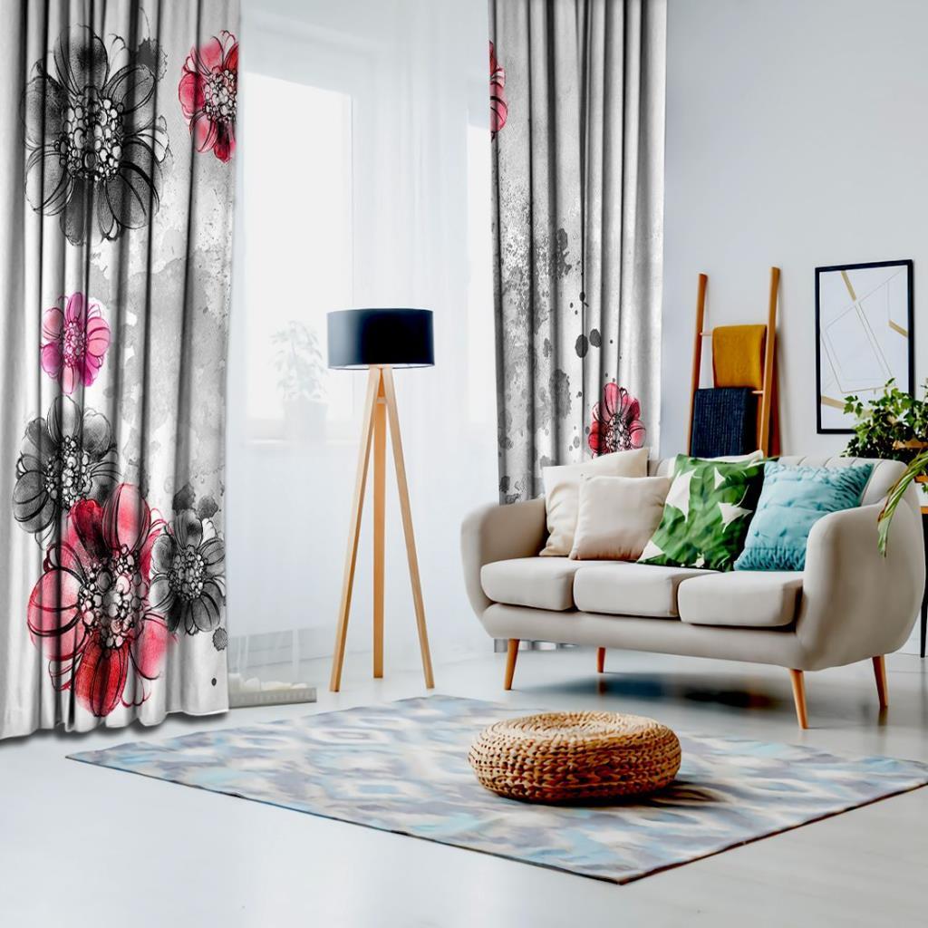baskılı fon perde sulu boya etkili kırmızı ve gri çiçek desenli