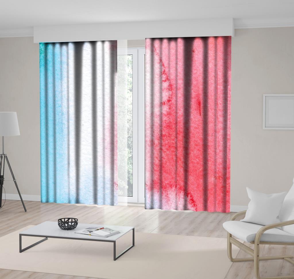 baskılı fon perde sulu boya etkili kırmızı ve mavi desenli