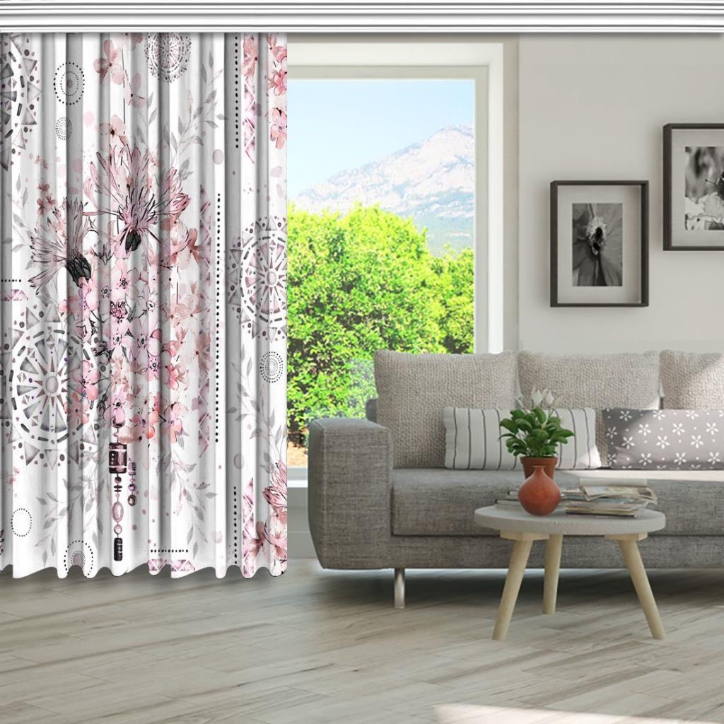 baskılı fon perde sulu boya etkili mandala çiçek desenli