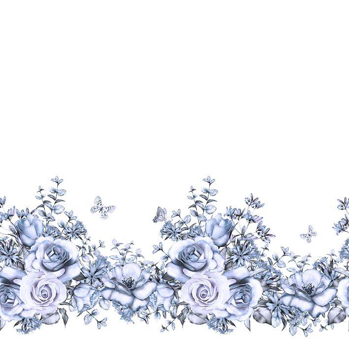 baskılı fon perde sulu boya etkili mavi gül desenli