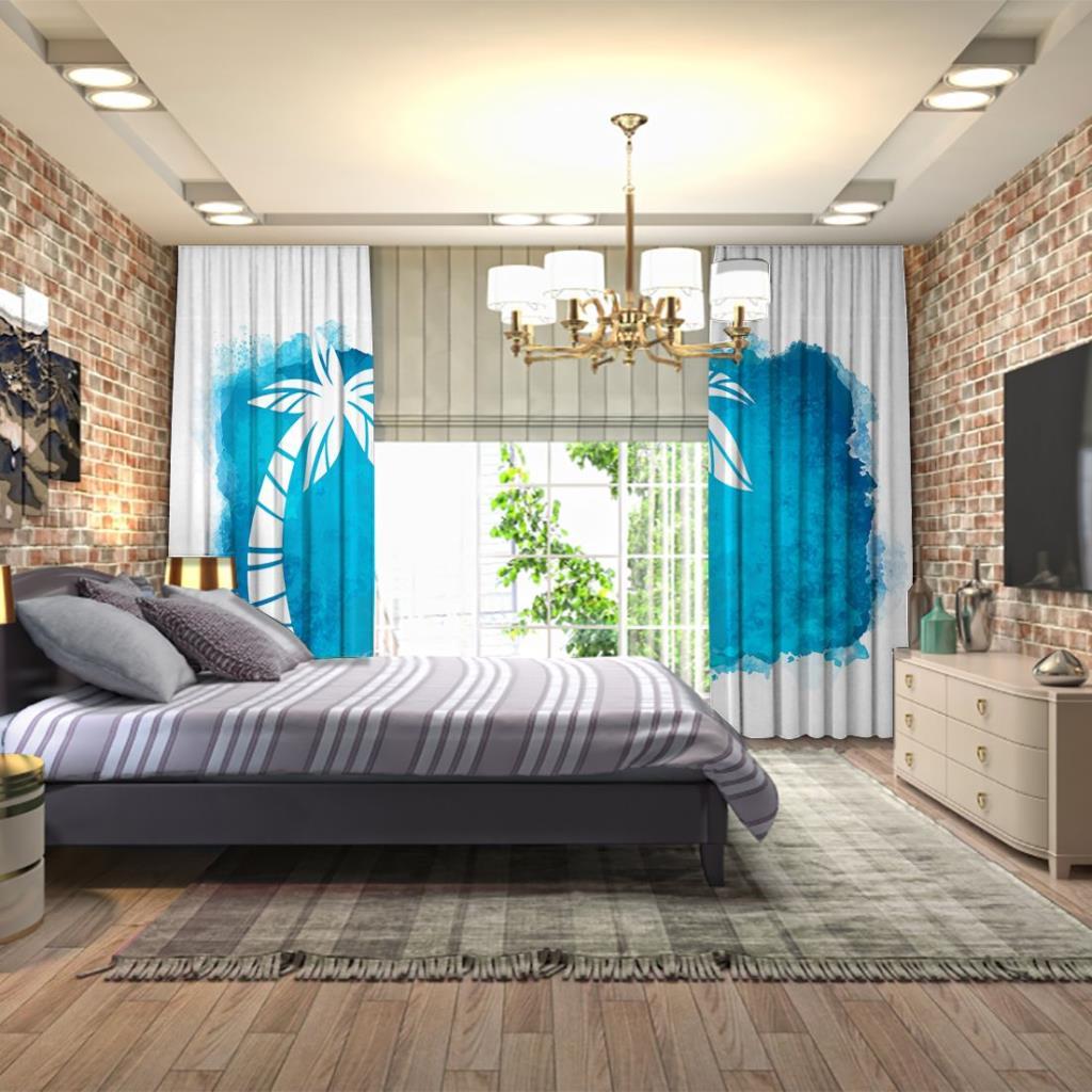 baskılı fon perde sulu boya etkili mavi palmiye ağaç desenli