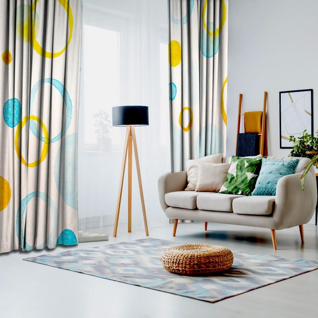 baskılı fon perde sulu boya etkili mavi sarı çember desenli
