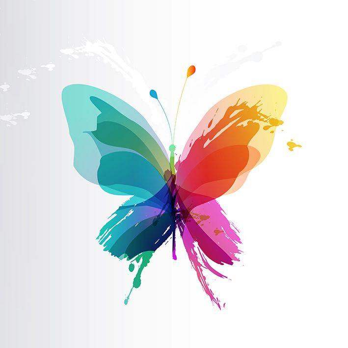 baskılı fon perde sulu boya etkili mor mavi sarı kelebek desenli